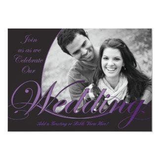 Invitaciones púrpuras y negras del boda comunicado personal