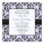 Invitaciones púrpuras y negras del boda del invitación personalizada