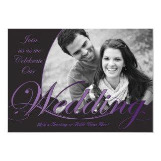 """Invitaciones púrpuras y negras del boda invitación 5"""" x 7"""""""