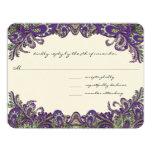 Invitaciones púrpuras y verdes del boda del pavo invitación 10,8 x 13,9 cm