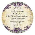 Invitaciones púrpuras y verdes del boda del pavo anuncio personalizado