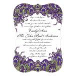 Invitaciones púrpuras y verdes del boda del pavo invitación 12,7 x 17,8 cm