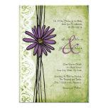 Invitaciones púrpuras y verdes del vintage de la invitación 12,7 x 17,8 cm