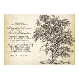 invitaciones que se casan envejecidas del árbol de invitaciones personalizada