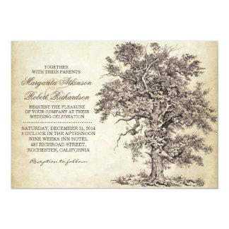 """invitaciones que se casan envejecidas del árbol invitación 5"""" x 7"""""""