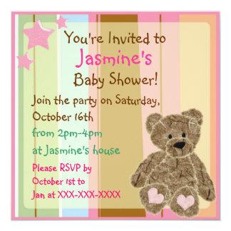 Invitaciones rayadas de la ducha del oso de anuncios personalizados