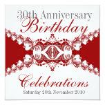 Invitaciones reales rojas del cumpleaños de invitación 13,3 cm x 13,3cm