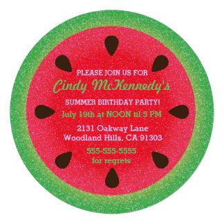 Invitaciones redondas del fiesta de la sandía