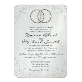 """Invitaciones religiosas cruzadas cercadas del boda invitación 5"""" x 7"""""""