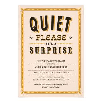 Invitaciones reservadas del fiesta de sorpresa del