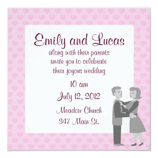 Invitaciones retras clásicas del boda del abrazo invitación 13,3 cm x 13,3cm