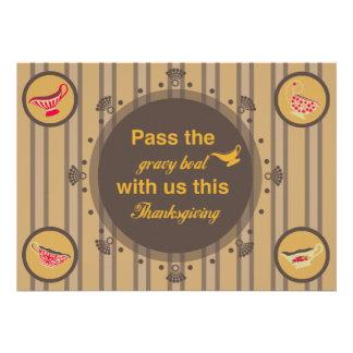 Invitaciones retras de la acción de gracias del ba comunicado personalizado