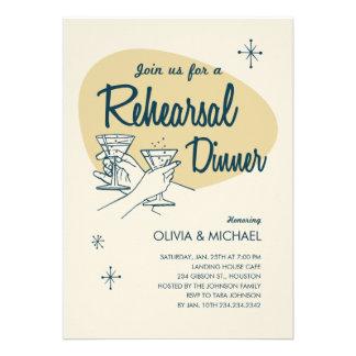 Invitaciones retras de la cena del ensayo del boda