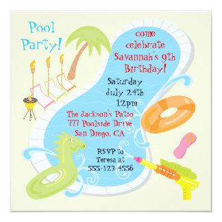 Invitaciones retras de la fiesta en la piscina invitación 13,3 cm x 13,3cm