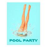 Invitaciones retras de la fiesta en la piscina de  anuncios