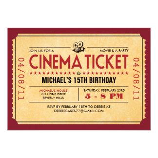 Invitaciones retras del boleto de la película