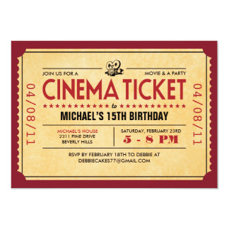 """Invitaciones retras del boleto de la película invitación 5"""" x 7"""""""