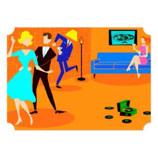 Invitaciones retras del cóctel del dibujo animado comunicados