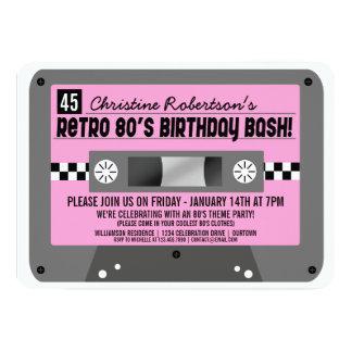 Invitaciones retras del fiesta de la cinta de invitación 12,7 x 17,8 cm