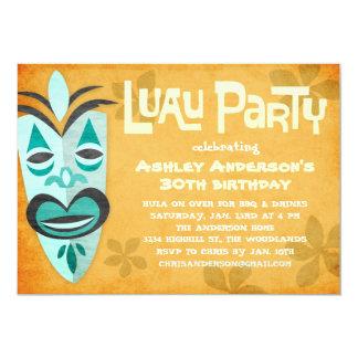 """Invitaciones retras del fiesta de Tiki Luau Invitación 5"""" X 7"""""""