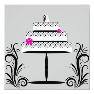 Invitaciones retras del pastel de bodas del lunar comunicado personalizado