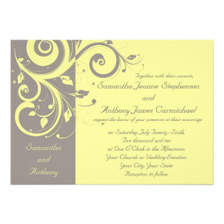 Invitaciones reversas amarillas y grises del boda