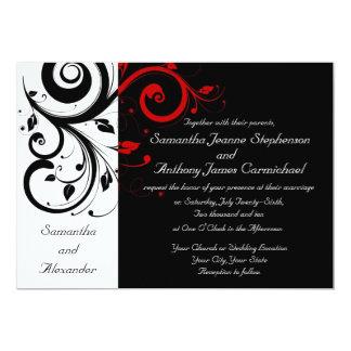 Invitaciones reversas negras/blancas/rojas del invitacion personalizada