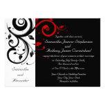 Invitaciones reversas negras/blancas/rojas del bod invitacion personalizada