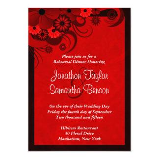 Invitaciones rojas de la cena del ensayo del boda invitación 12,7 x 17,8 cm