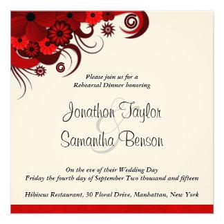 Invitaciones rojas de la cena del ensayo del boda anuncio personalizado