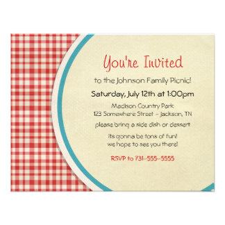 Invitaciones rojas de la comida campestre de la fa invitacion personalizada