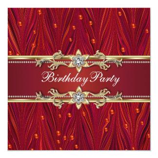 """Invitaciones rojas de la fiesta de cumpleaños del invitación 5.25"""" x 5.25"""""""
