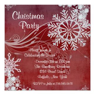 """Invitaciones rojas de la fiesta de Navidad de los Invitación 5.25"""" X 5.25"""""""
