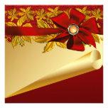Invitaciones rojas de la fiesta de Navidad del Poi Invitacion Personal