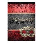 Invitaciones rojas de la mascarada del vintage invitación 12,7 x 17,8 cm