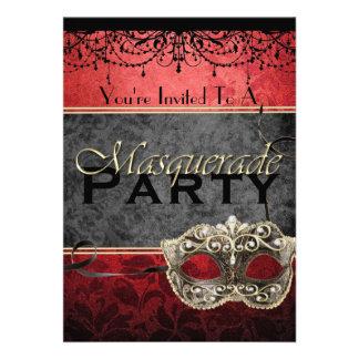 Invitaciones rojas de la mascarada del vintage ele