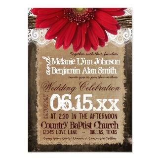 """Invitaciones rojas de madera rústicas del boda del invitación 4.5"""" x 6.25"""""""