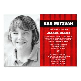 """Invitaciones rojas de Mitzvah de la barra de la Invitación 5"""" X 7"""""""