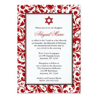 Invitaciones rojas de Mitzvah del palo del damasco Invitación 12,7 X 17,8 Cm