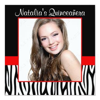Invitaciones rojas de Quinceanera de la foto de la Invitación 13,3 Cm X 13,3cm