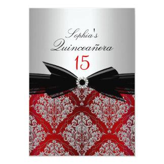 Invitaciones rojas de Quinceanera del damasco y Invitación 12,7 X 17,8 Cm