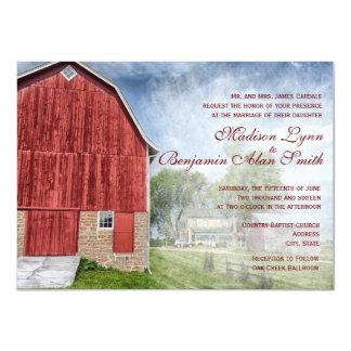 """Invitaciones rojas del boda de la granja del invitación 4.5"""" x 6.25"""""""