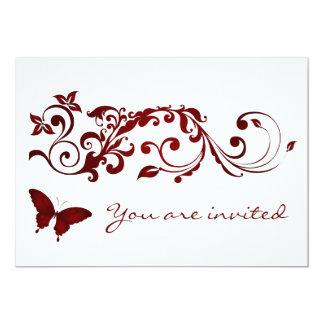 Invitaciones rojas del boda de la mariposa invitación 12,7 x 17,8 cm