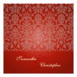 Invitaciones rojas del boda del damasco del victor invitacion personal