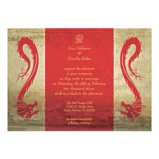 Invitaciones rojas del boda del dragón invitación