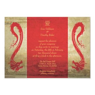 Invitaciones rojas del boda del dragón invitación 12,7 x 17,8 cm