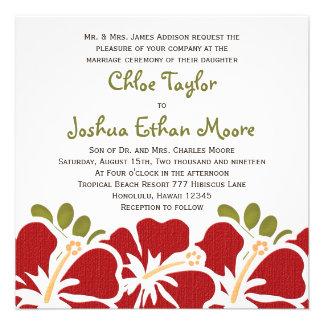Invitaciones rojas del boda del hibisco anuncio