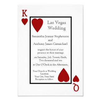 Invitaciones rojas del boda del naipe invitación 12,7 x 17,8 cm