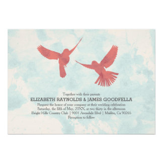 Invitaciones rojas del boda del pájaro del vintage