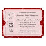 Invitaciones rojas del boleto del boda del VIP Invitación 12,7 X 17,8 Cm